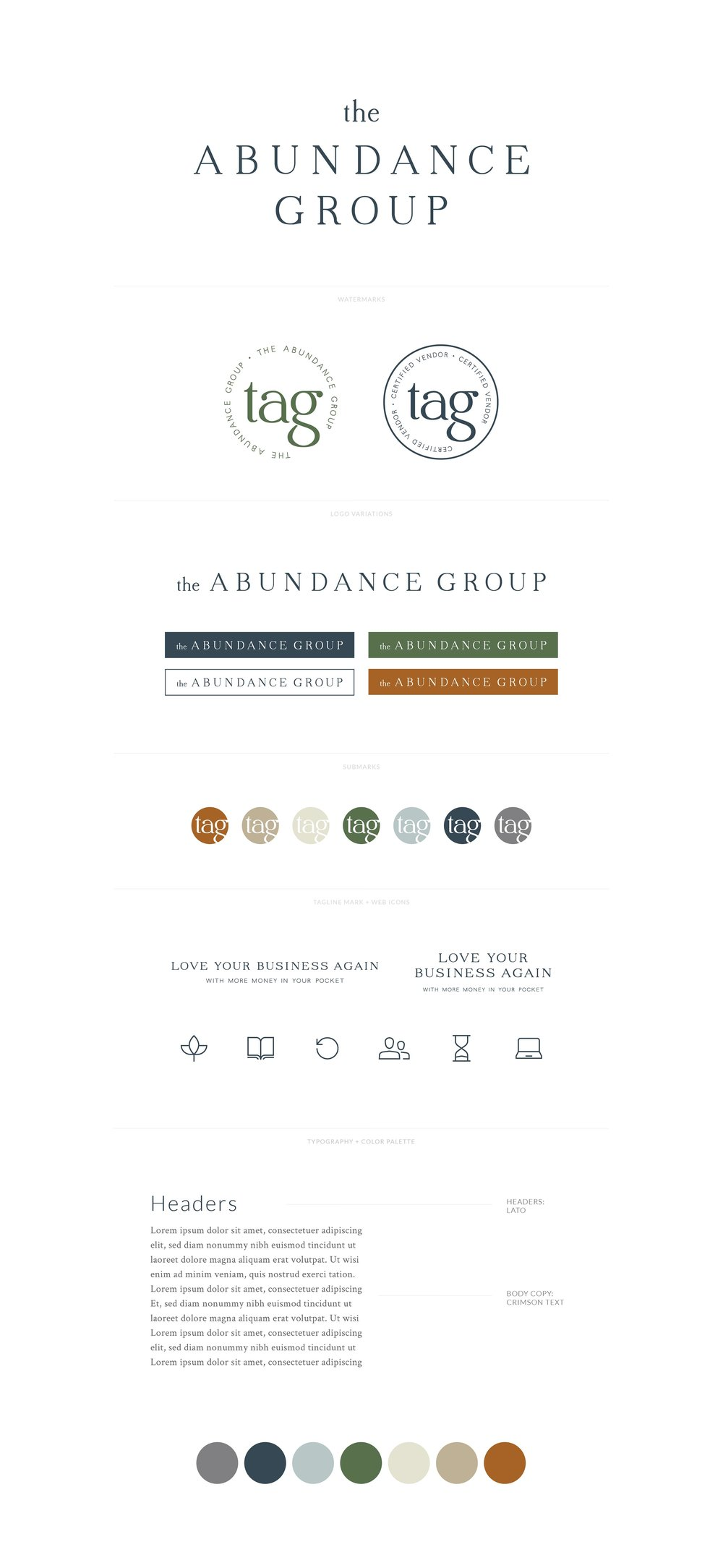 The Abundance Group | Minimal, Modern, Professional Logo, Watermark, Favicon, Tagline, Typography Font Styling, Color Palette | Branding by AllieMarie Design