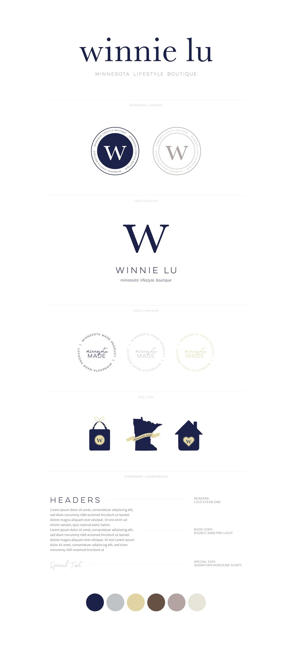 Winnie Lu Minnesota Lifestyle Boutique | Classic, Modern, Minimal Logo, Watermark, Web Icons. Font Styling and Color Palette | Branding by AllieMarie Design
