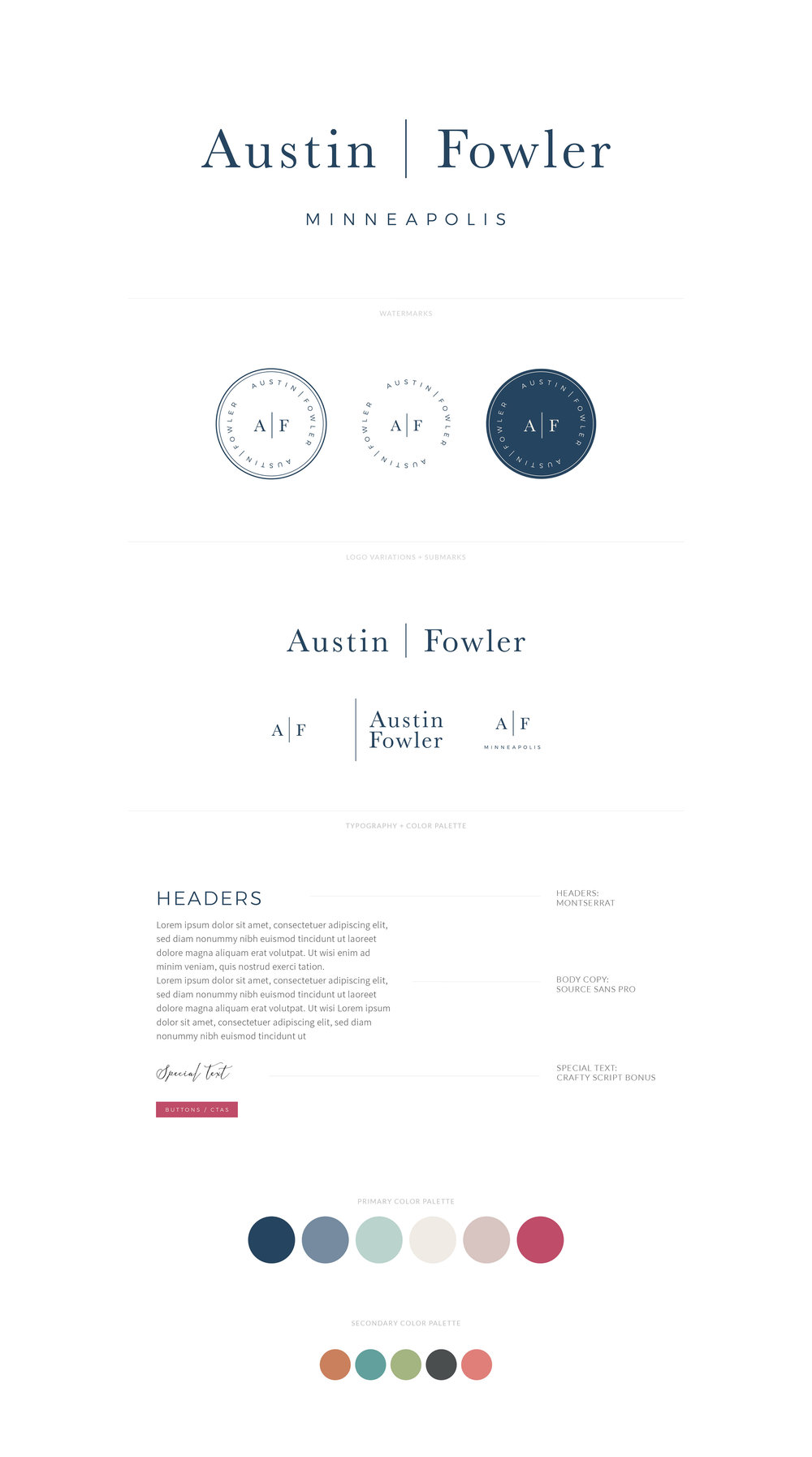Austin Fowler Brand Board | Logo, Watermark, Submark, Favicon, Font Styling, Color Palette | Sophisticated Purses and Diaper Bags for Busy Moms  |  Branding by AllieMarie Design