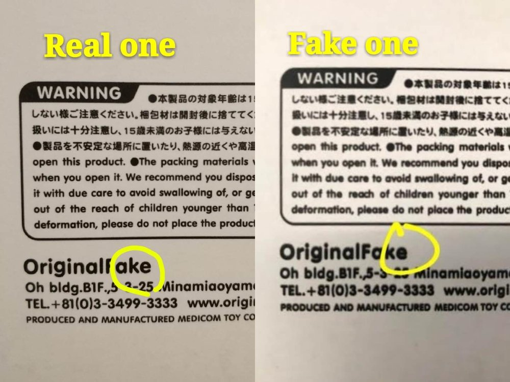 "Step 2: Take a look at the back of the box, low left corner, on the OriginalFake inscription the ""e"" of the fake one is less clear and bolder"