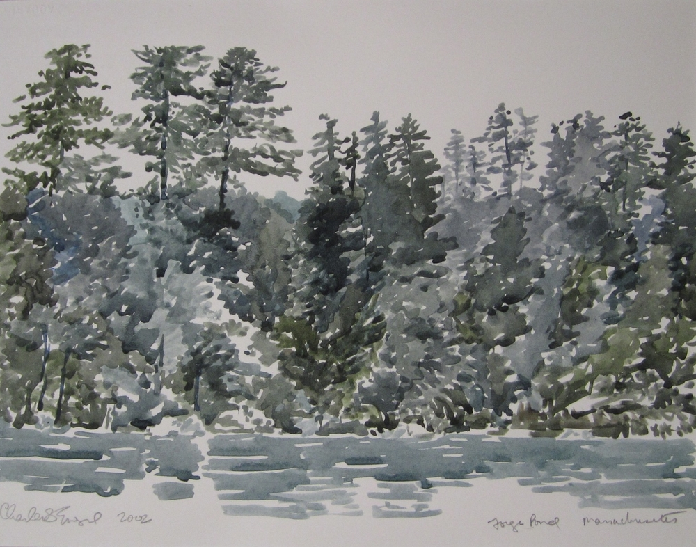 """Forge Pond, Littleton MA""  Watercolor 11X15"