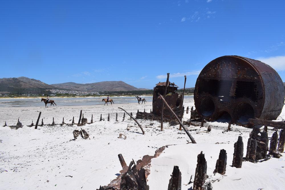 The wreck of the Kakapo, dying slowly on Noordhoek beach