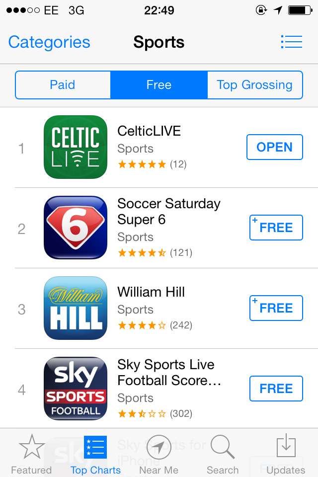 #1 free app in Sports category