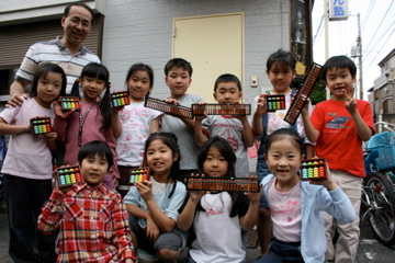 Japanese children at an abacus club.
