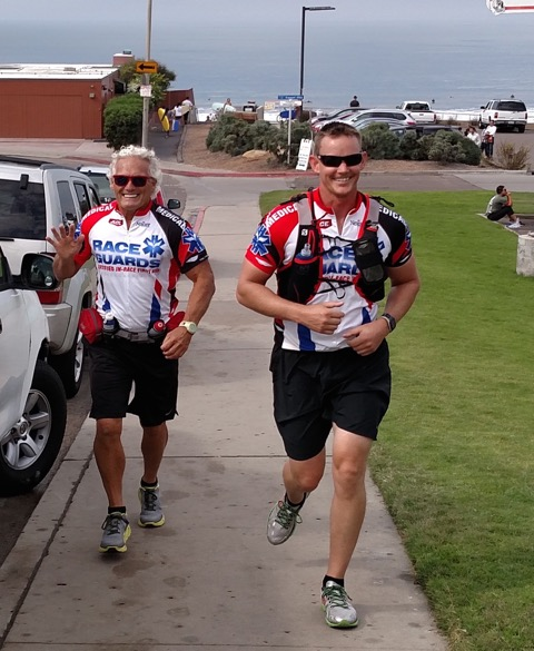 Always smiling, Rick (right) charges up those hills.