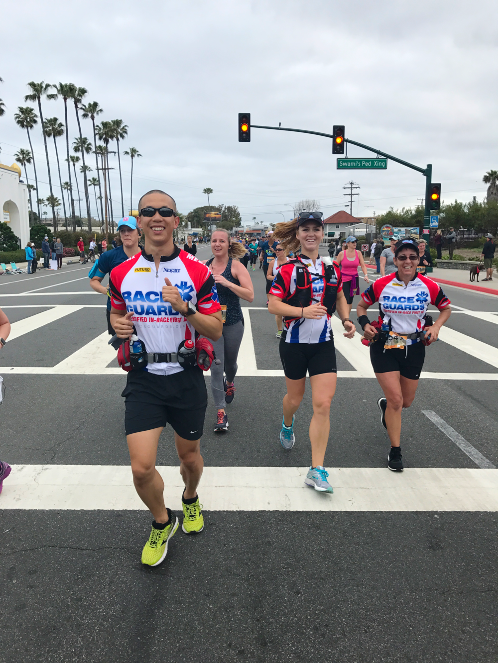 Kate (center) with Vincent and Adrienne, Encinitas Half Marathon