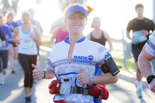 Kate in 2012 at the San Diego Half Marathon, sporting our original Tech Shirt
