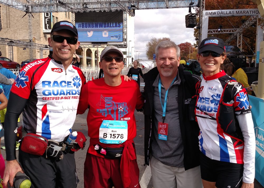 Andy Voggenthaller, Ron Tran, Marcus Grunewald, and Dr Laura Dowd at the BMW Dallas Marathon