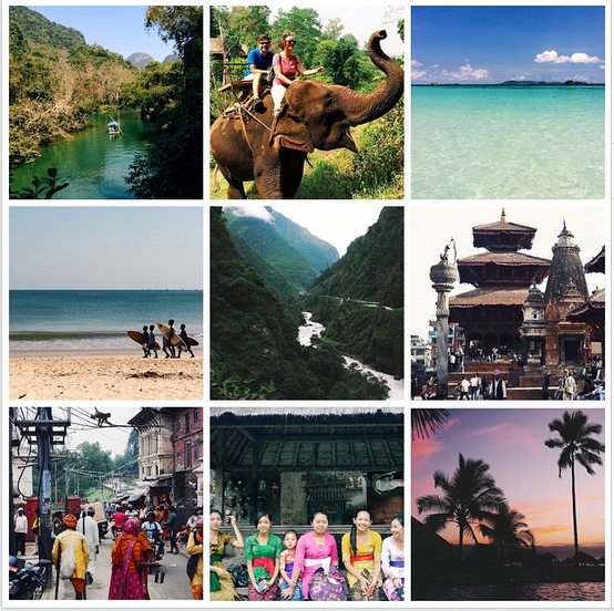Top to Bottom, Left to Right: Bamboo Boat Ride in China, Elephant Riding in Thailand, Swimming Turquoise Waters in Thailand, Surfer Boys in Bali, Himalayas in Nepal, Durbar Square architecture in Nepal, the City Life of Nepal, Beautiful Bali Girls, Sunset in Mexico.