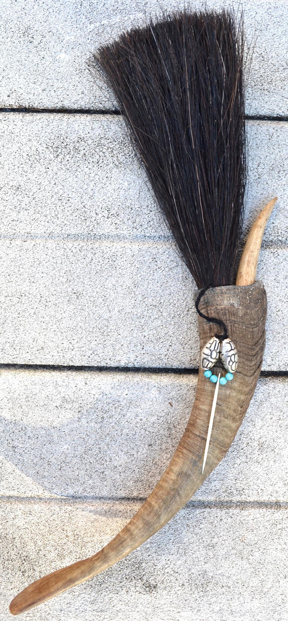 Goat horn, horse hair, deer antler tip, twine, stingray barb, turquoiseand metal beads