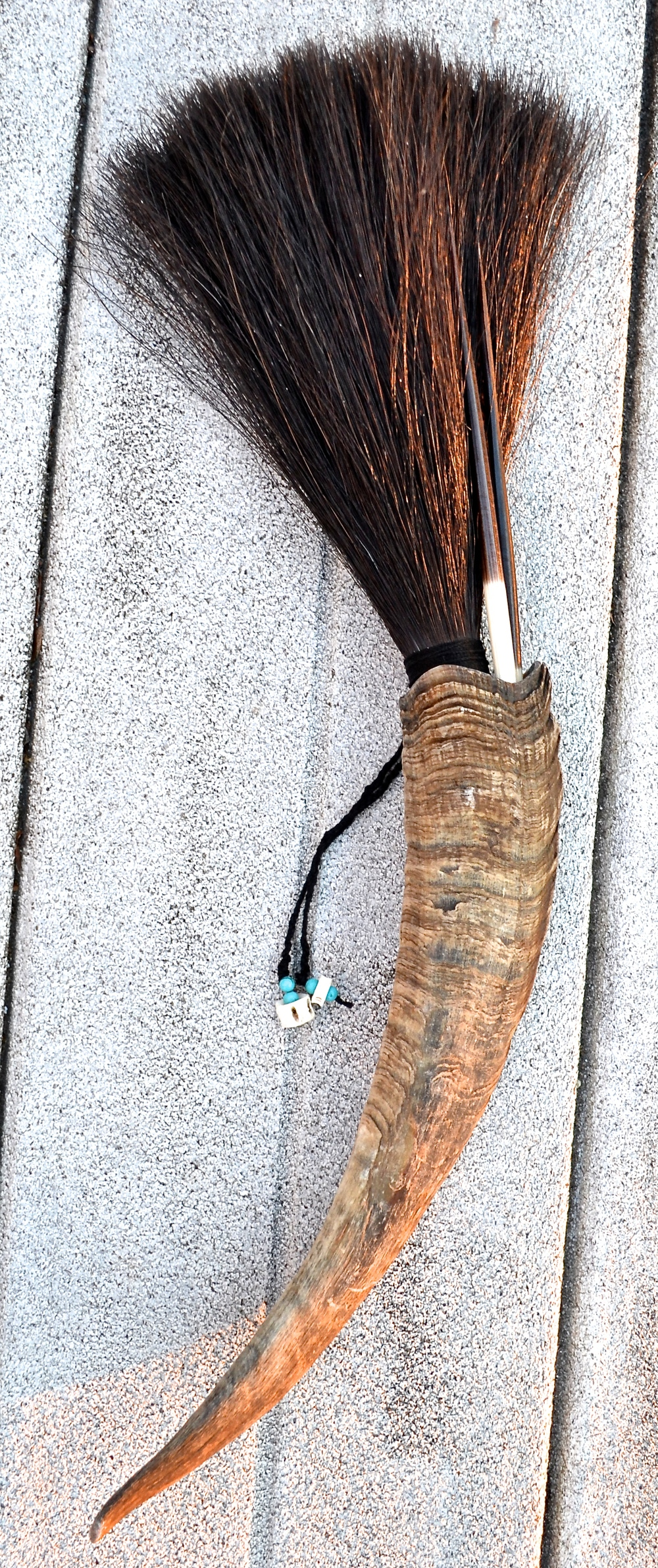 Goat horn, horse hair, twine, porcupine quills (2), turquoise beads and shark vertebrae (2)  Artist made primal brush for use or display
