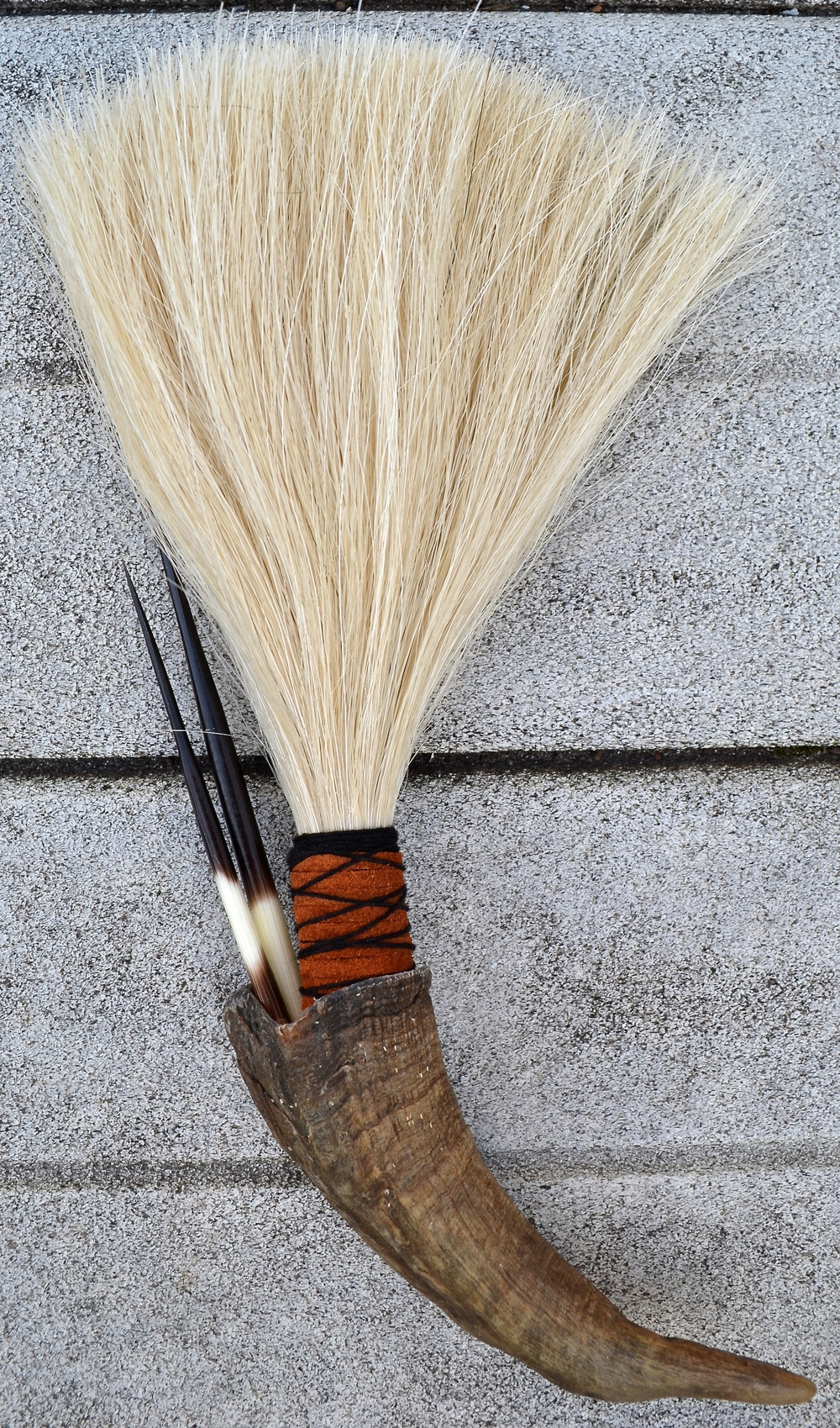 Goat horn, horse hair, twine, leather, and porcupine quills (2)  Artist made primal brush for use or display