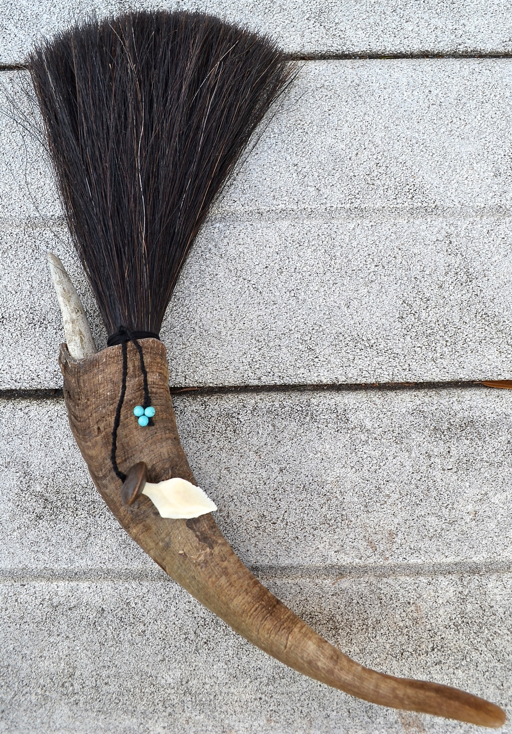 Goat horn, horse hair, twine, anger tip, turquoise beads, wooden beadand gar tooth  Artist made primal brush for use or display