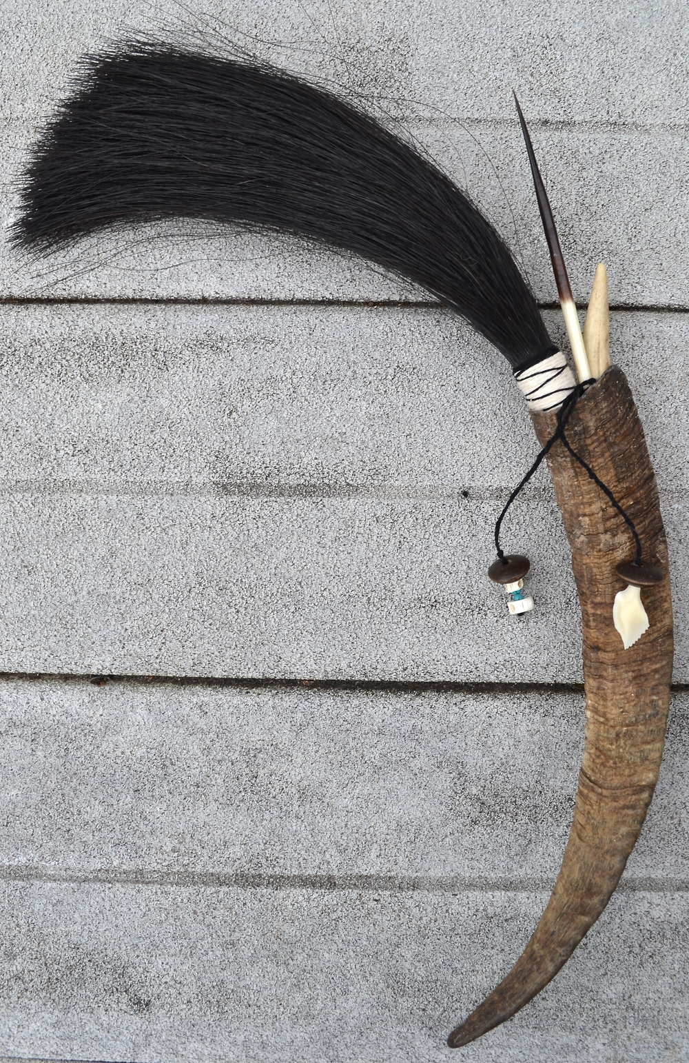 Goat horn, horse hair, twine, anger tip, porcupine quill, turquoise bead, wooden beadand Gar fish tooth and Shark vertebrae (2)  Artist made primal brush for use or display