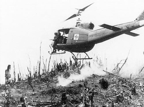 The first combat operation of the Huey was in the service of the U.S. Army during the Vietnam War.