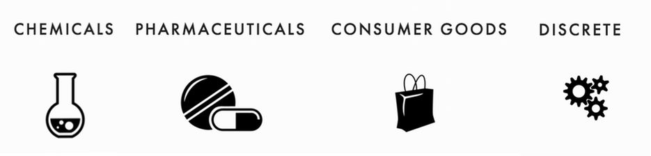 Chemicals, Pharmaceuticals, Consumer Goods, Discrete
