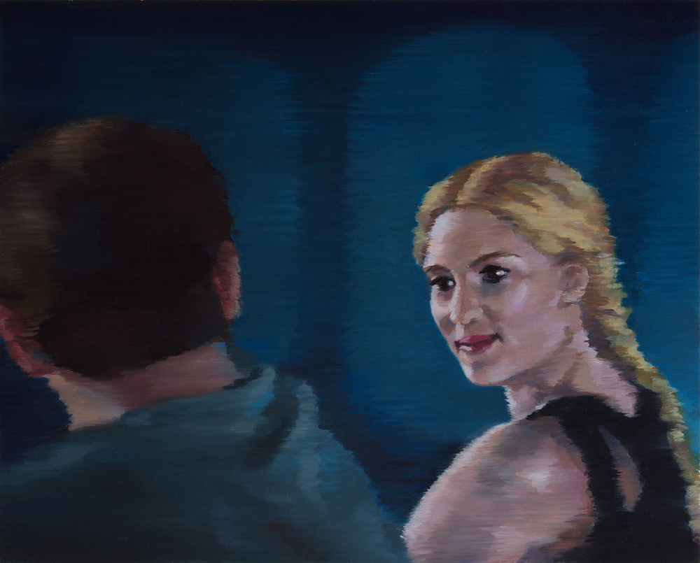 "Seen  (Scarlett Johansson)  oil on wood  8.25"" x 10.25,"" 2014"