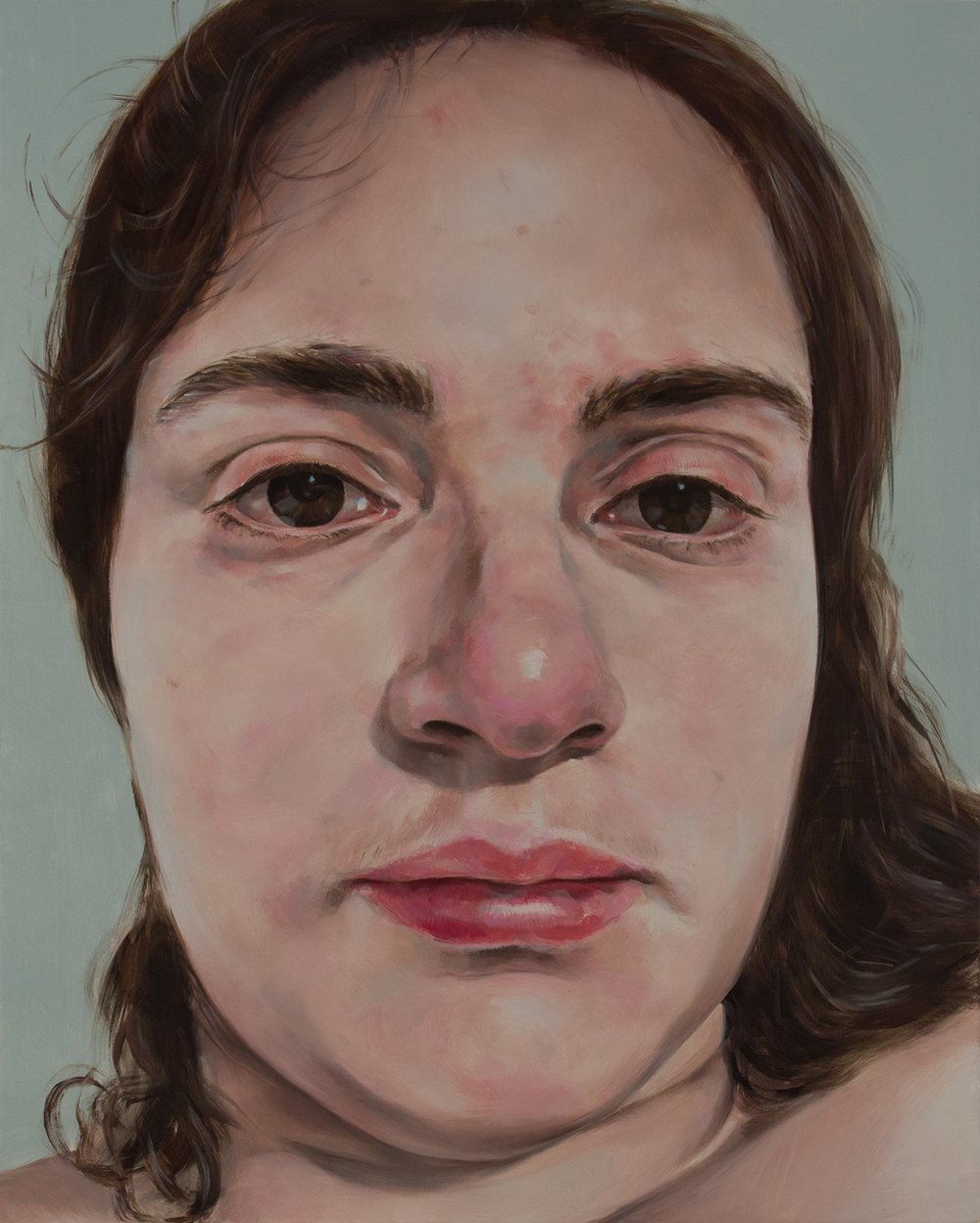 "Anti-Selfie (Self-portrait III)   oil on wood  20"" x 16,"" 2015"