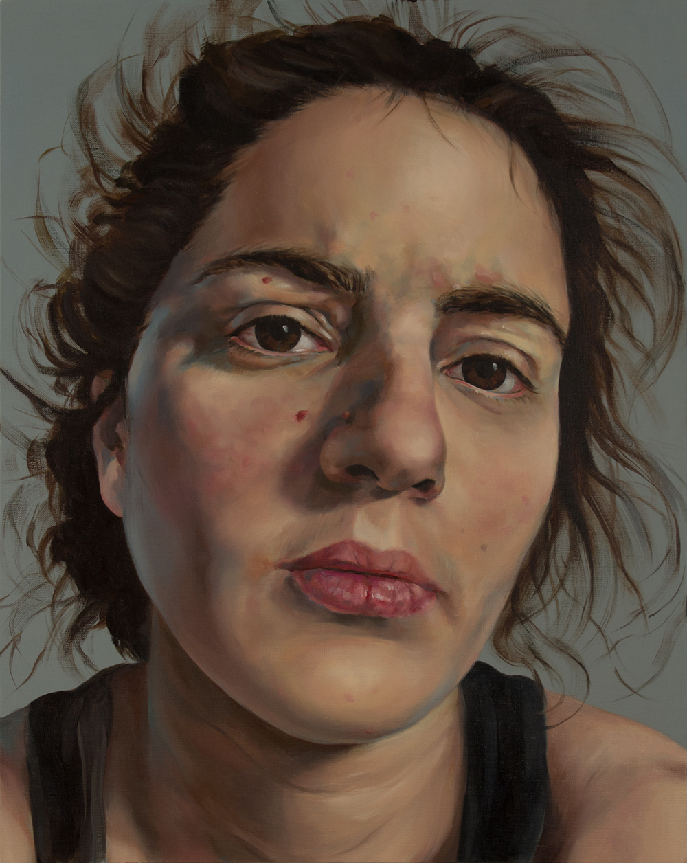 "Anti-Selfie (Self-portrait I)   oil on linen  30"" x 24,"" 2015"