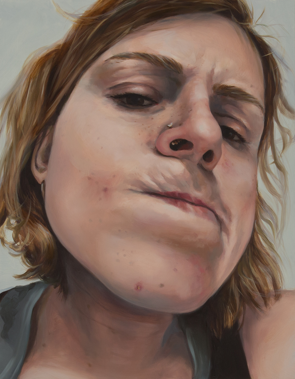 "Anti-Selfie (Emma)   oil on wood  18"" x 14,"" 2015"