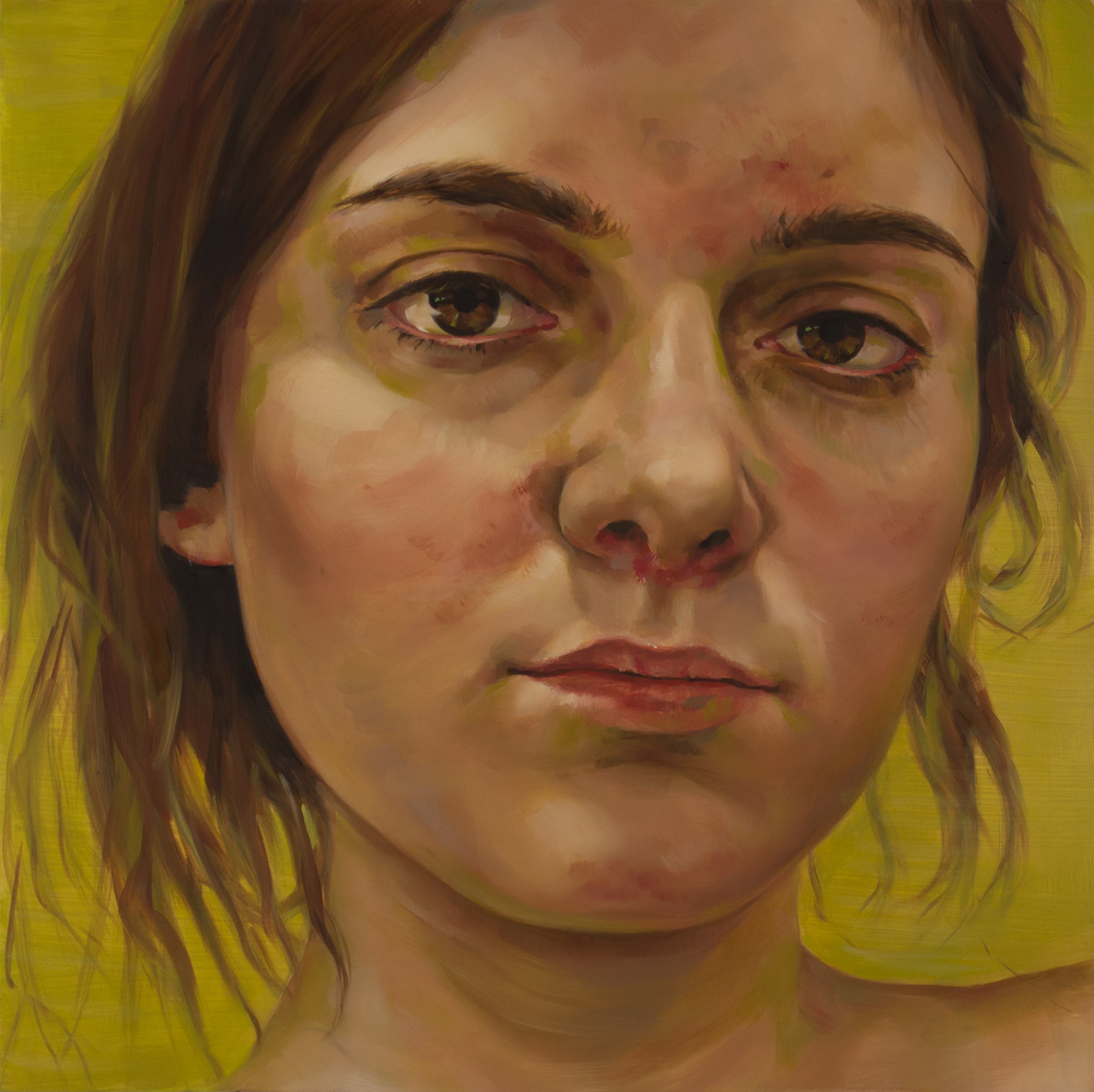 "Anti-Selfie (Becky)   oil on wood  18"" x 18,"" 2015"