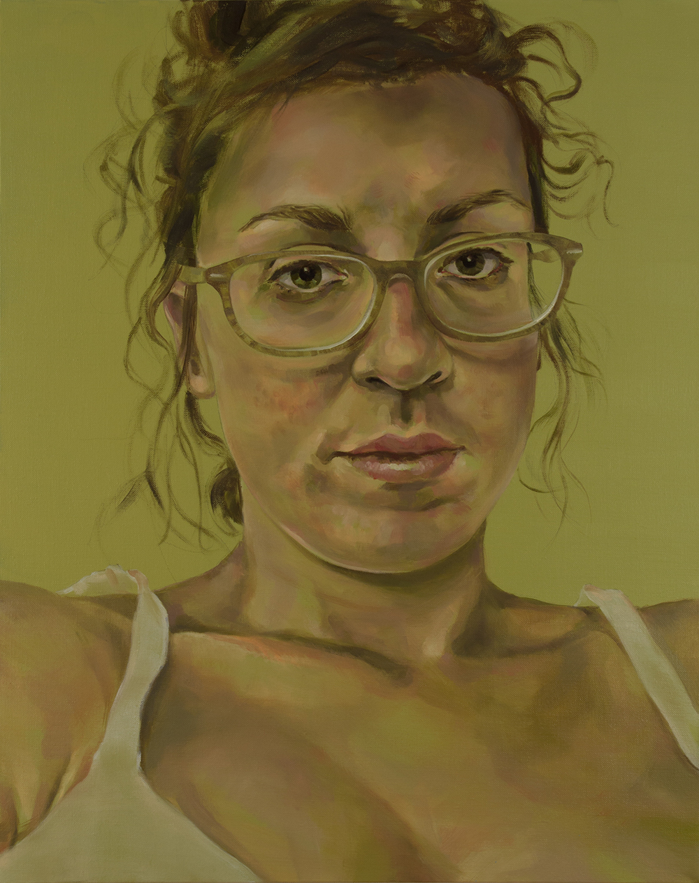 "Anti-Selfie (Cailin)   oil on linen  30"" x 24,"" 2015"
