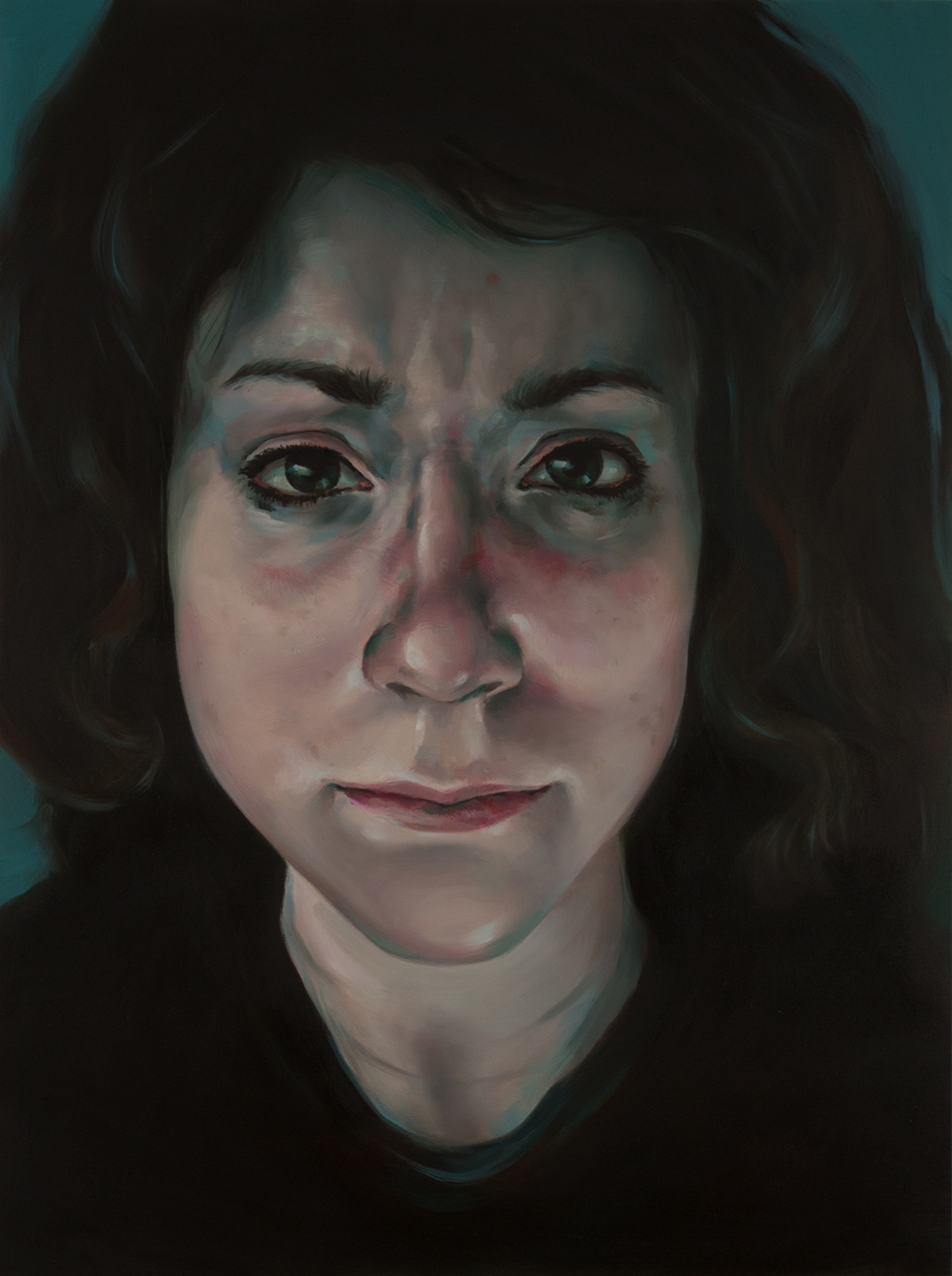 "Anti-Selfie (Erika)   oil on wood  24"" x 18,"" 2015"