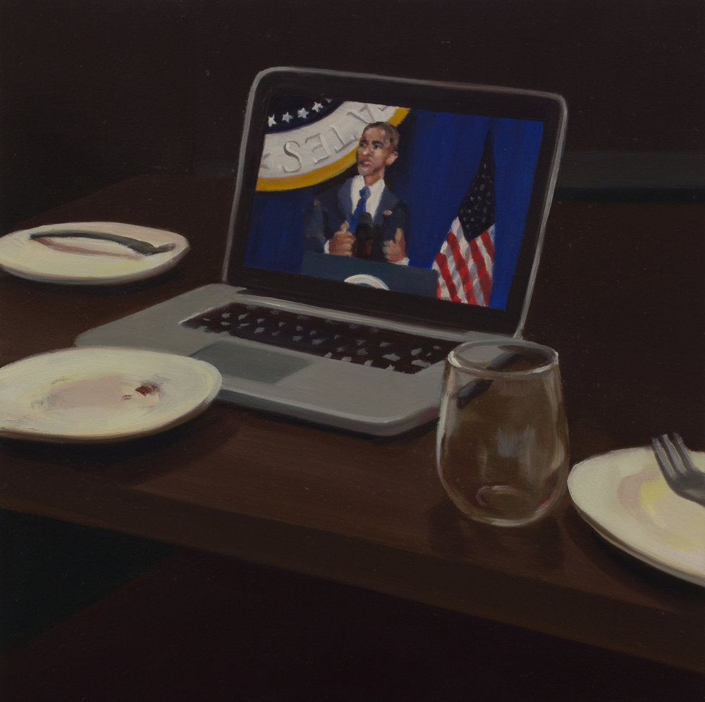 "Last Supper   oil on wood  8"" x 8,"" 2017"