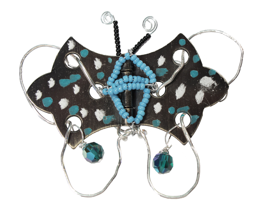 """Hardware Store Jewelry"" Wire Wrapped Hinge Butterfly Pendant Tutorial"
