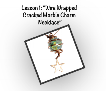 Wire Wrapped Cracked Marble Charm Necklace