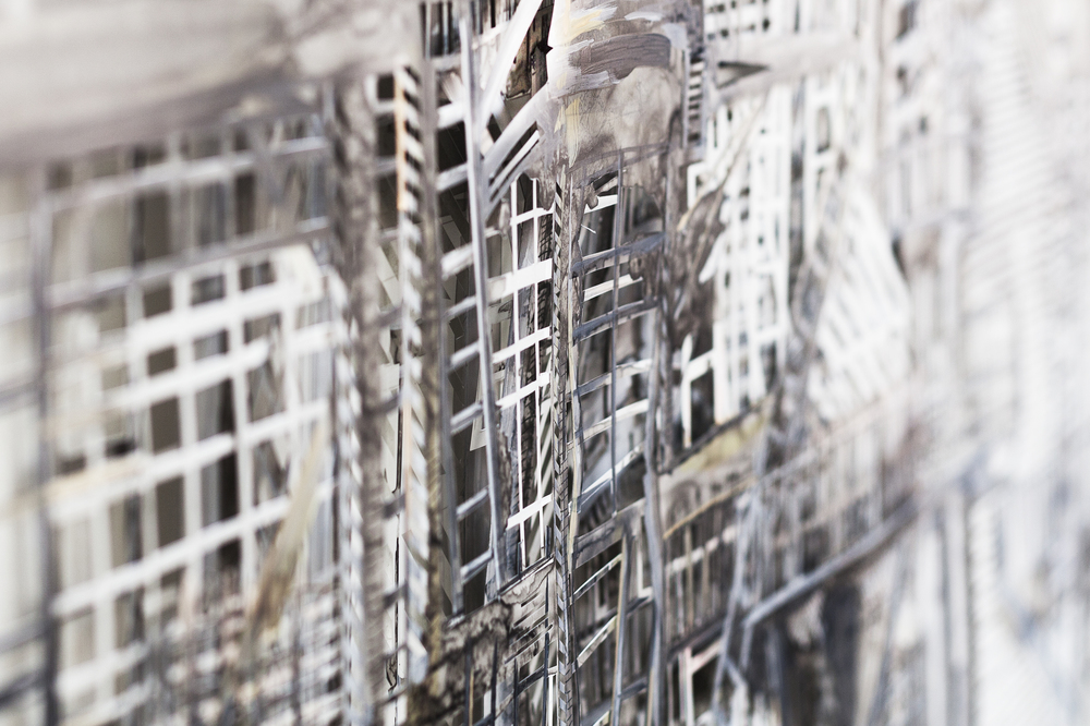 "Thin City (Detail), 2015, Acrylic and Ink on Cut Mylar, 44"" x 33"""