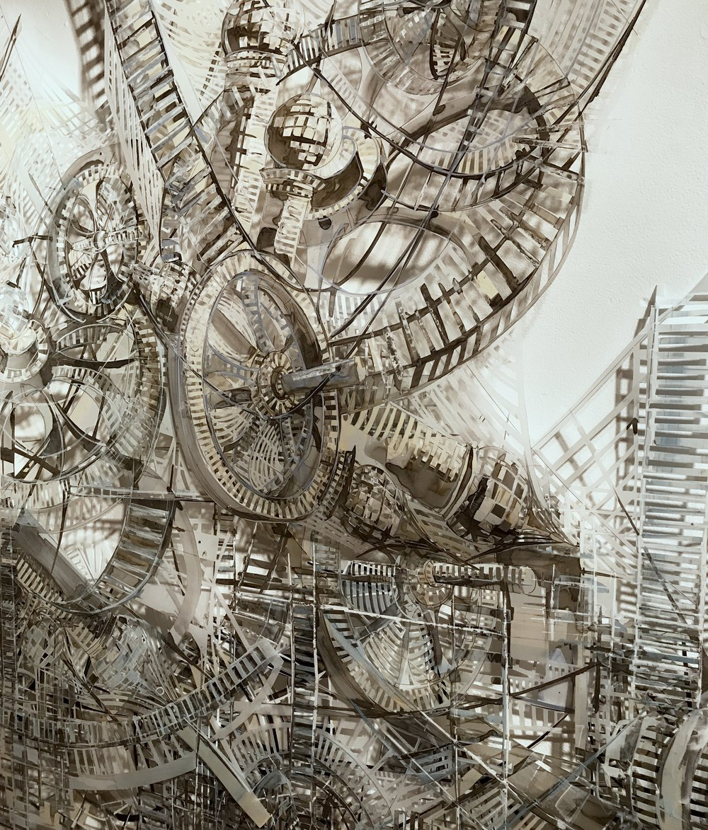 "Invisible Cities -Revolution,  2018, Acrylic and Ink on Handcut Mylar, 58"" x 60"""