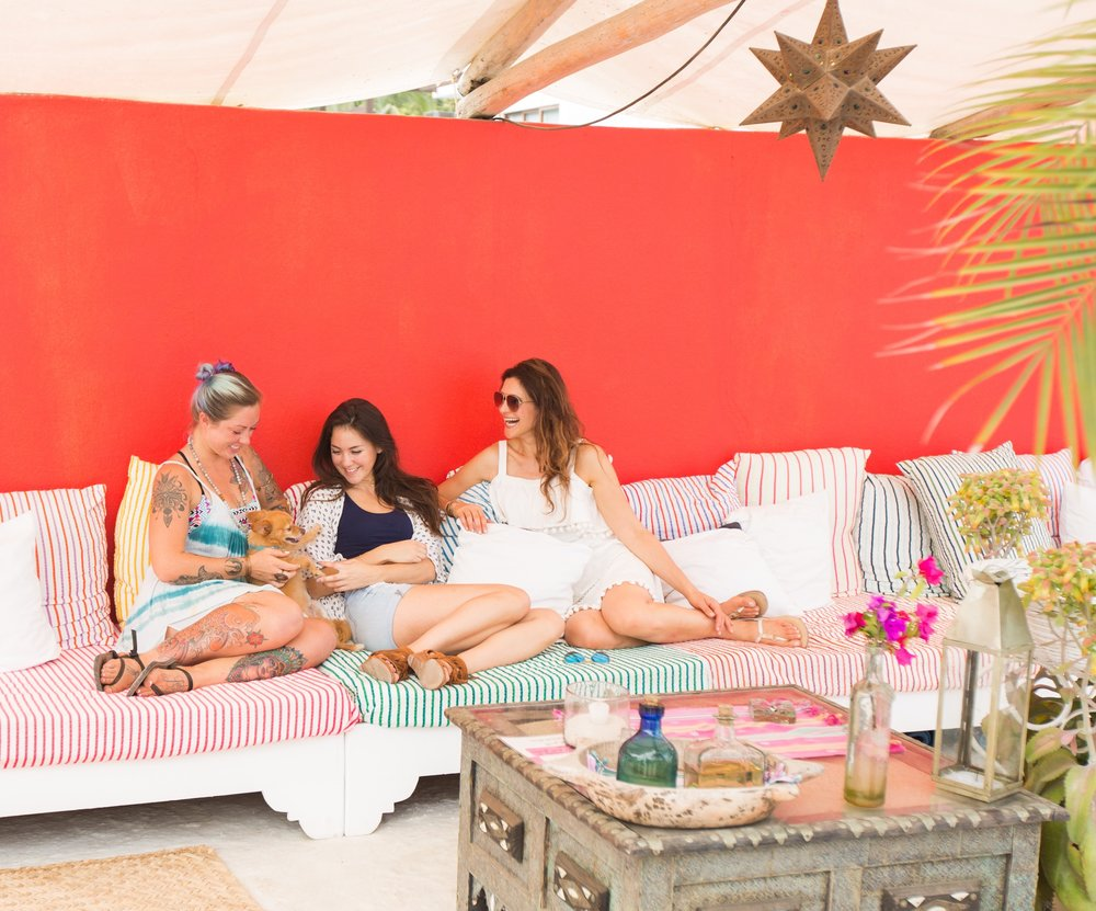 Rooftop lounging at the Petit Hotel Hafa in Sayulita, with Mandy Martini, Paige Rene, and Sergio the dog.  Photography by Nathan Rose Photography.