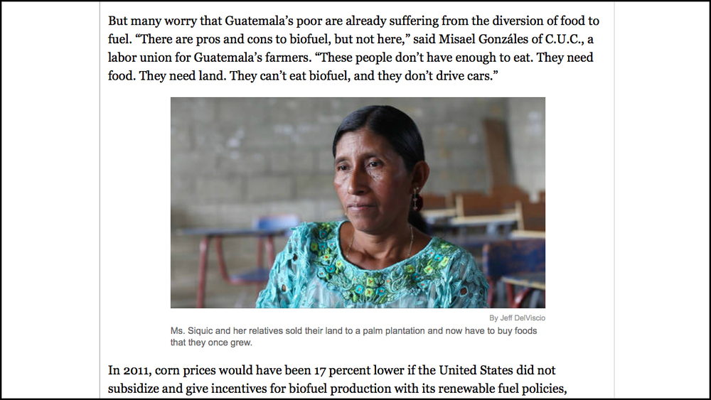 Portraits: Biofuel Fallout    Role: Video Editor A project looking the effects of a biofuels rush on Guatemalan farmers. Edited video portraits of four Guatemalans.   View Videos