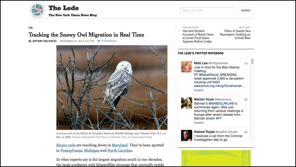 December 19, 2013 - New York Times    Tracking the Snowy Owl Migration in Real Time    http://thelede.blogs.nytimes.com/2013/12/19/tracking-the-snowy-owl-migration-in-real-time/