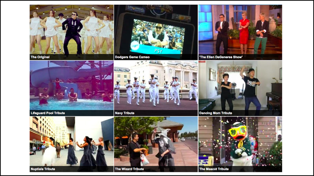 "September 20, 2012    Gangnam Style, Original and in Imitation   ""Gangnam Style,"" a music video by a South Korean rapper known as PSY, has been viewed over a billion times on YouTube. It's also been remixed and redone by motivated fans. (Even North Koreans have channeled the rapper.) Here, the original and a selection of its imitations.  Full Interactive"