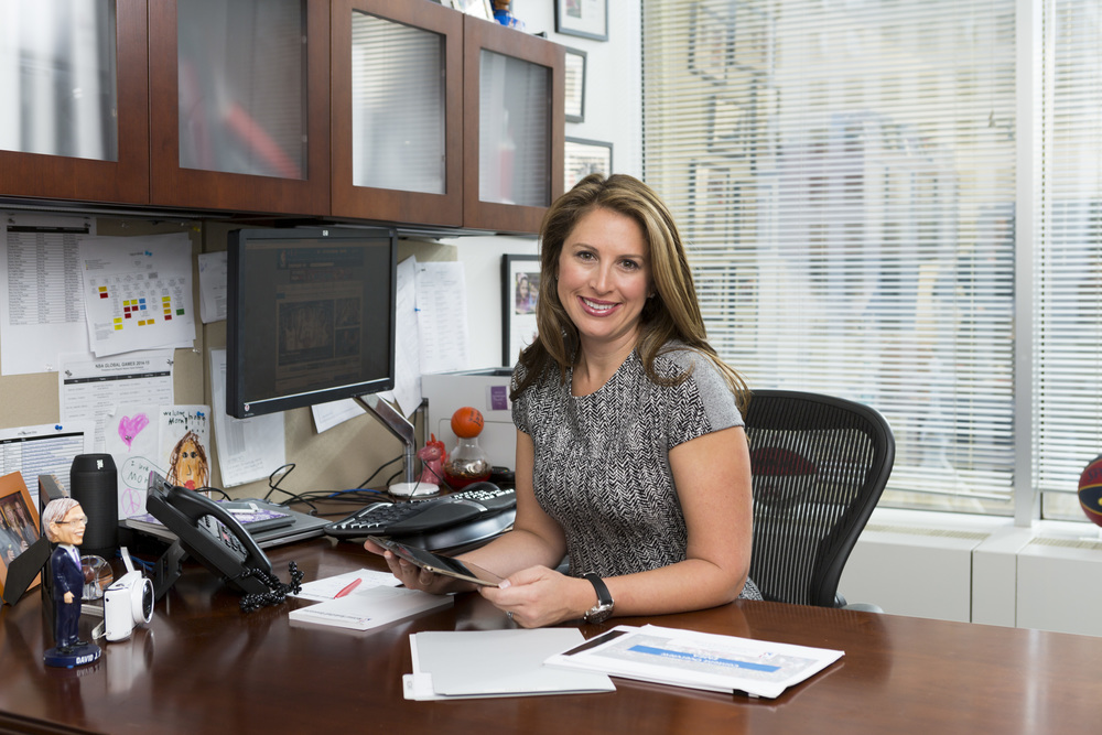 Melissa at her office at the NBA 2014.
