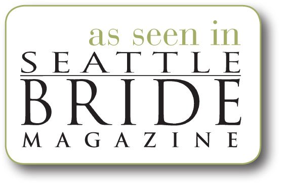 Badge reading as seen in seattle bride magazine