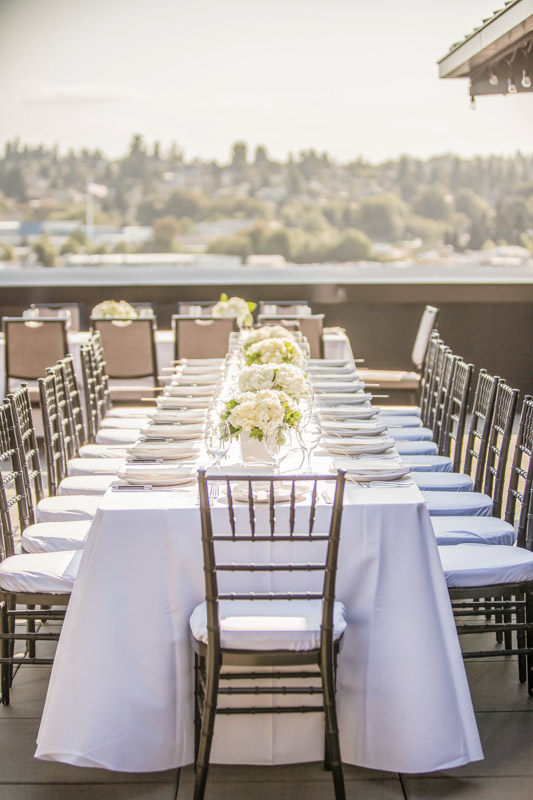 table set for outdoor wedding party in seattle
