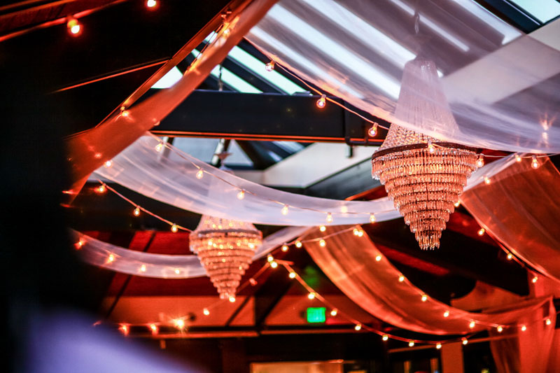 party lighting and drapery with red glow