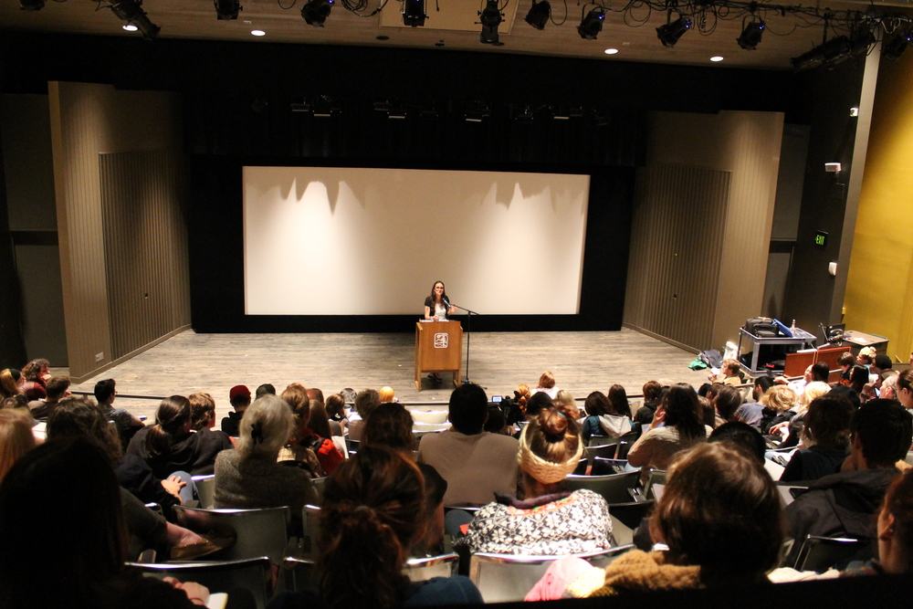 Speaking on  Downwind  at The Evergreen State College, 14 May 2015. Photo by Theresa Trebon