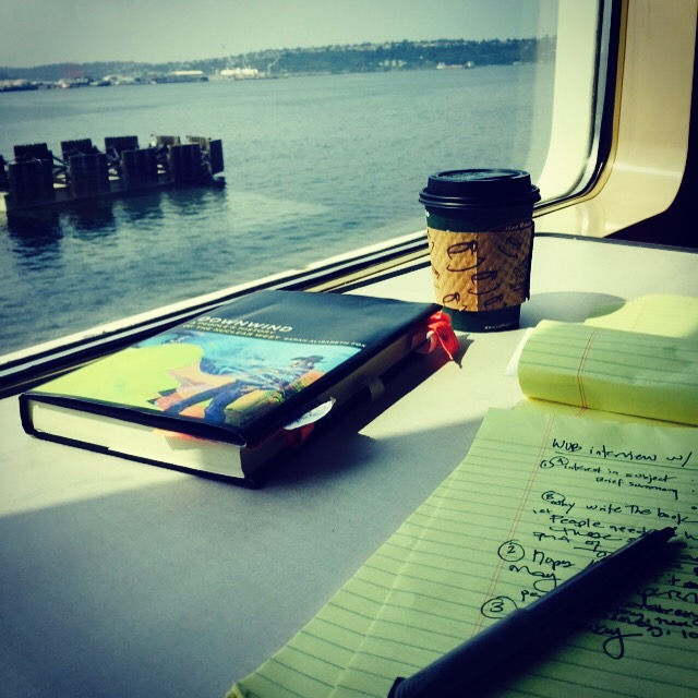 My kind of commute... en route to Bainbridge Island to discuss DOWNWIND.