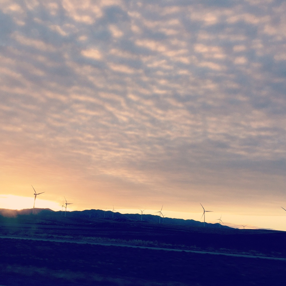 Sunrise behind a wind farm. Early morning drive across Idaho from Malad City to Emmett.