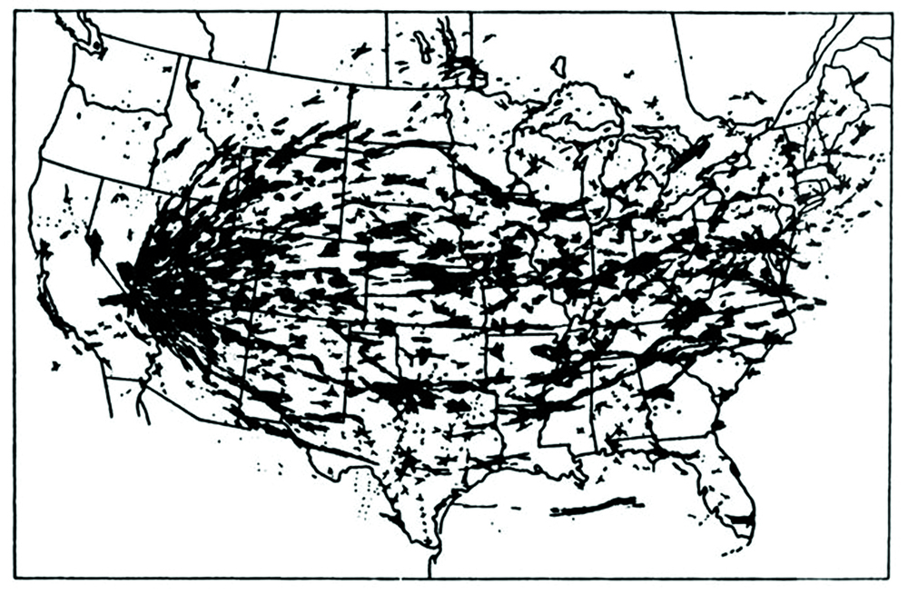 Areas of the United States crossed by two or more clouds from atmospheric nuclear tests, 1951-1962. Underground testing from 1962-1992 also created airborne contamination. Map assembled by Richard Miller.