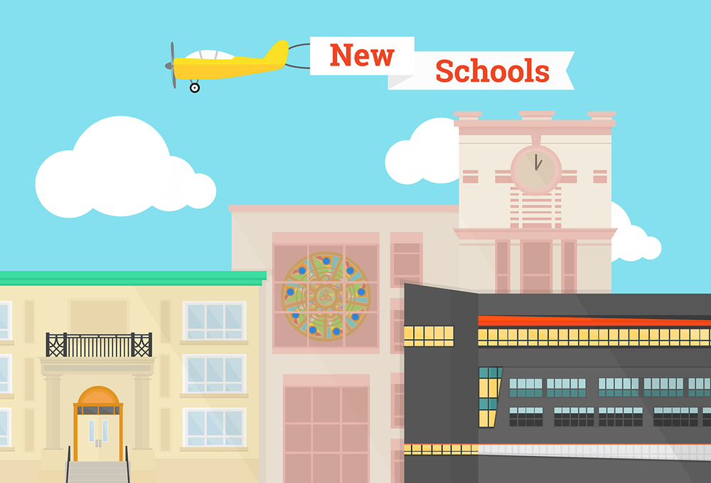 Background piece made for a digital sign announcement of Fall 2014 new school openings in New York City.