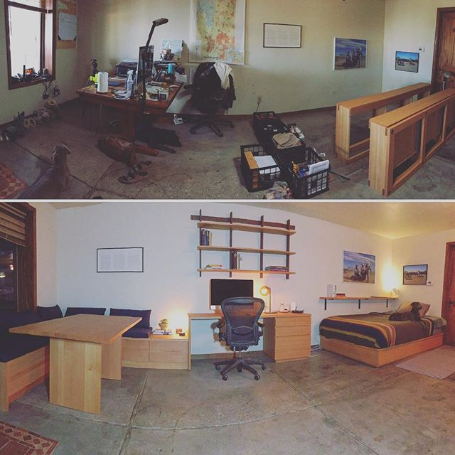 Before and after shots of the ranch house project. This has been such a fun and rewarding job. I loved seeing the space transformed... but I didn't love meeting my first, second and third real life rattlesnakes. 🐍😬