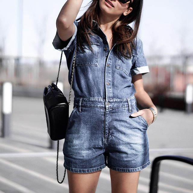 Finally 70 degrees ➰ wearing denim romper today 🔘 from @anthropologie
