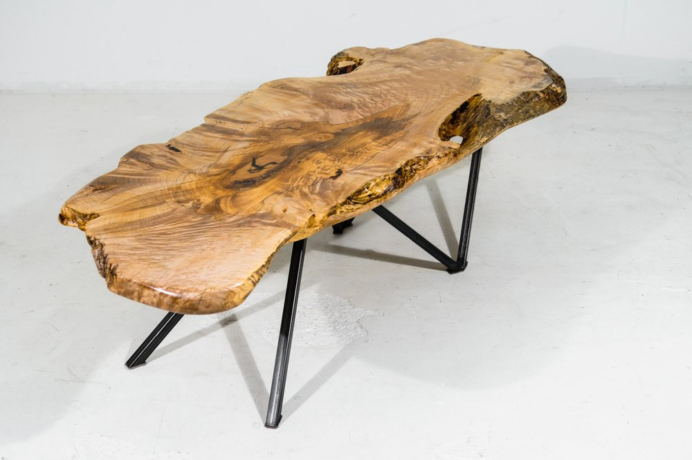 Custom live edge maple slab coffee table vancouver bc for Coffee tables vancouver canada