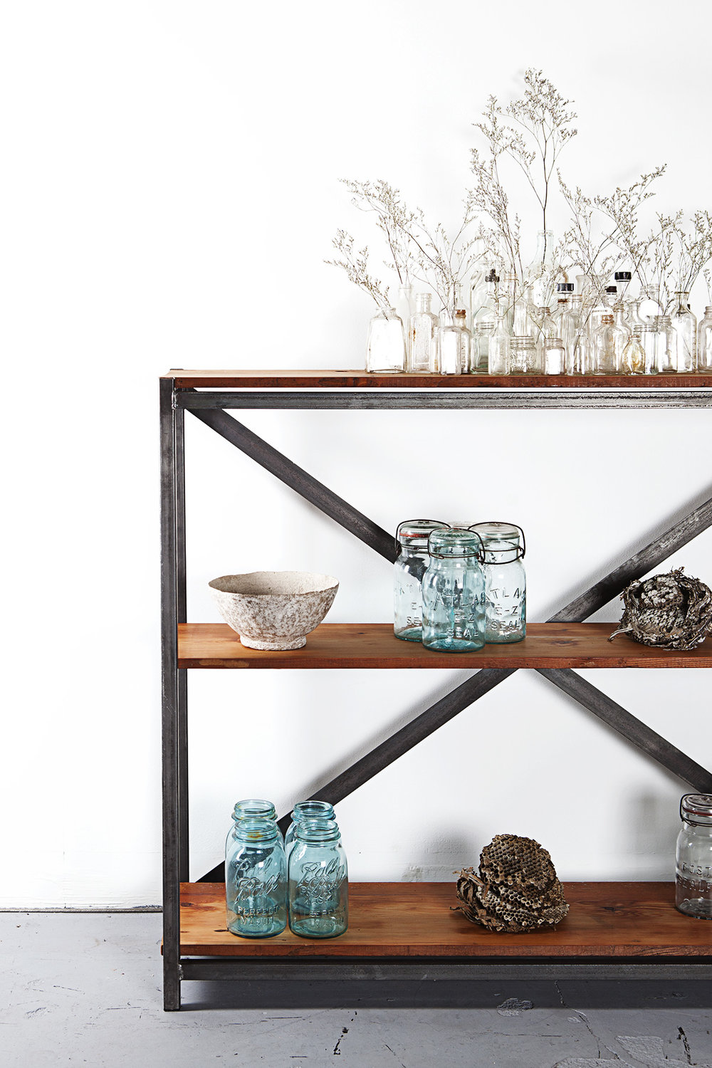 Reclaimed Wood X-Frame Shelf