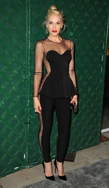 Gwen loves to show some skin in creative ways... This peplum jumpsuit is so perfect on the alternative goddess!